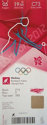 Forceful Ticket Olympic 5/8/2012 Men's Hockey Great Britain Vs Australia # C73 Olympic Memorabilia London 2012