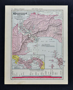 1911 McNally Map - Isthmus of Panama Canal Profile San Pablo Colon ...