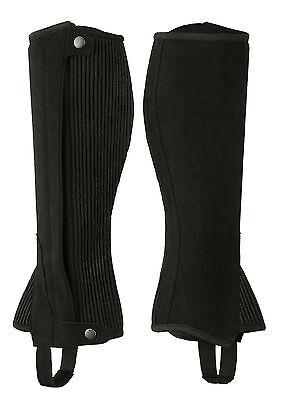 ADULTS/CHILDREN HORSE RIDING HALF CHAPS BLACK AMARA SYNTHETIC LEATHER-ALL SIZES