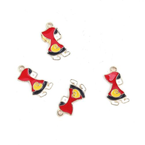4 x Red Riding Hood Enamel Charms Pendant Gold Plated