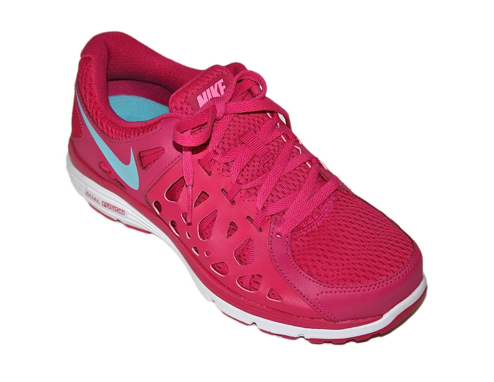 NIKE DUAL FUSION RUN2 PINK blueE WHITE Women's RUNNING SHOES 6.5M