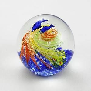 Round Glow in the Dark Glass Paperweight - Coral Dolphins Vortex Swirl