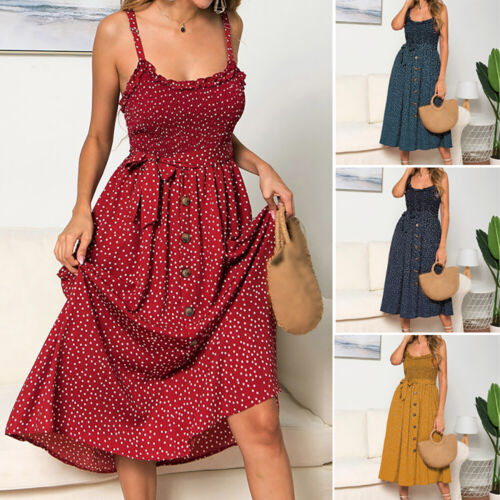 Frauen Kleid Sommer Polka Dot Strand Für Damen Stretch Sommerkleid Polyester