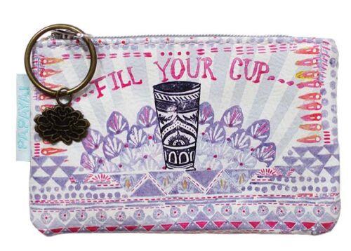 PAPAYA ART Coin Purse FILL YOUR CUP Card Case Bag Pouch LOTUS CHARM Coffee Tea