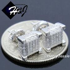 MEN 925 STERLING SILVER 7X7MM LAB DIAMOND ICED 3D SCREW BACK STUD EARRING*E128