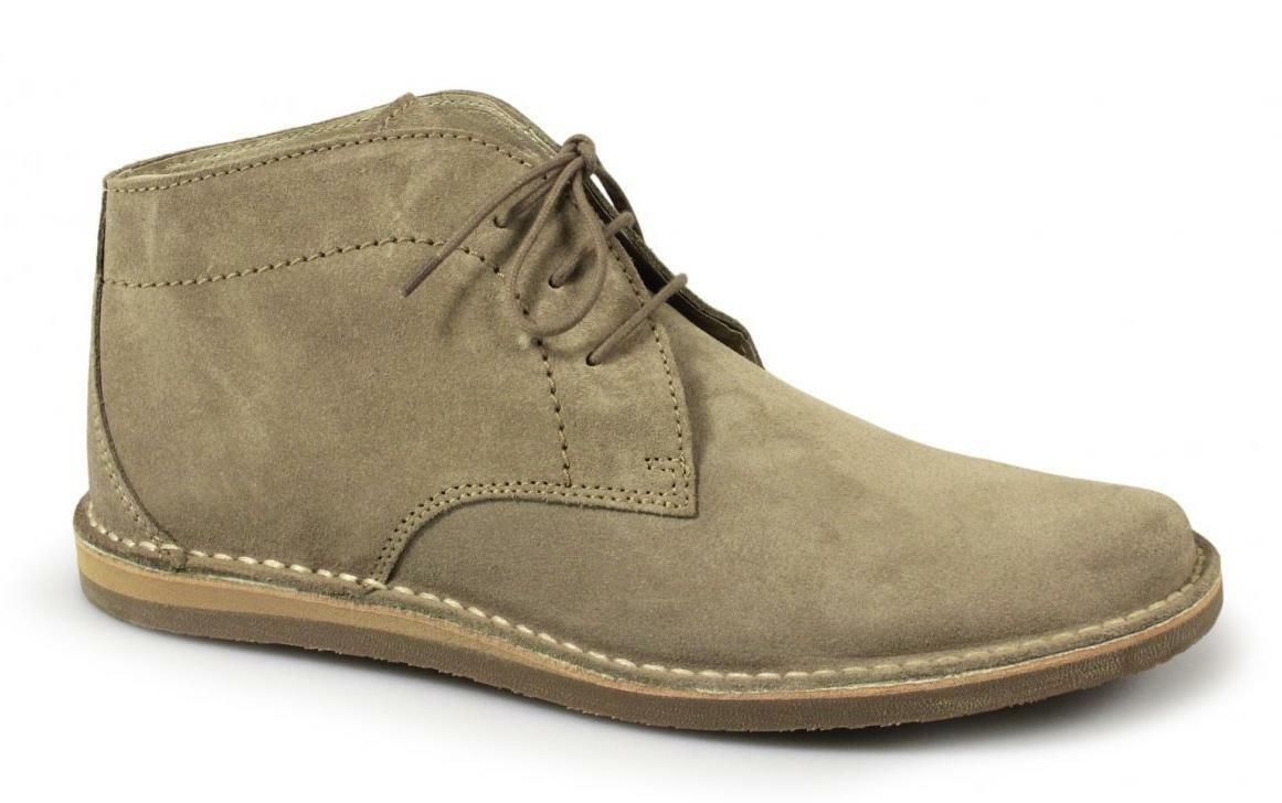 Ikon NOMAD Mens 3 Eyelet Suede Leather Retro Casual Ankle Desert Boots Beige
