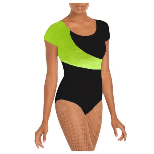 KFCSL Kids Girl Cap Sleeve Sparkling FOIL Leotard Bodysuit Gymnastic Ballet Top
