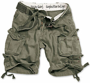SURPLUS ARMY MENS DIVISION CARGO SHORTS COMBAT ARMY KNEE LENGTH /& DELUXE BELT