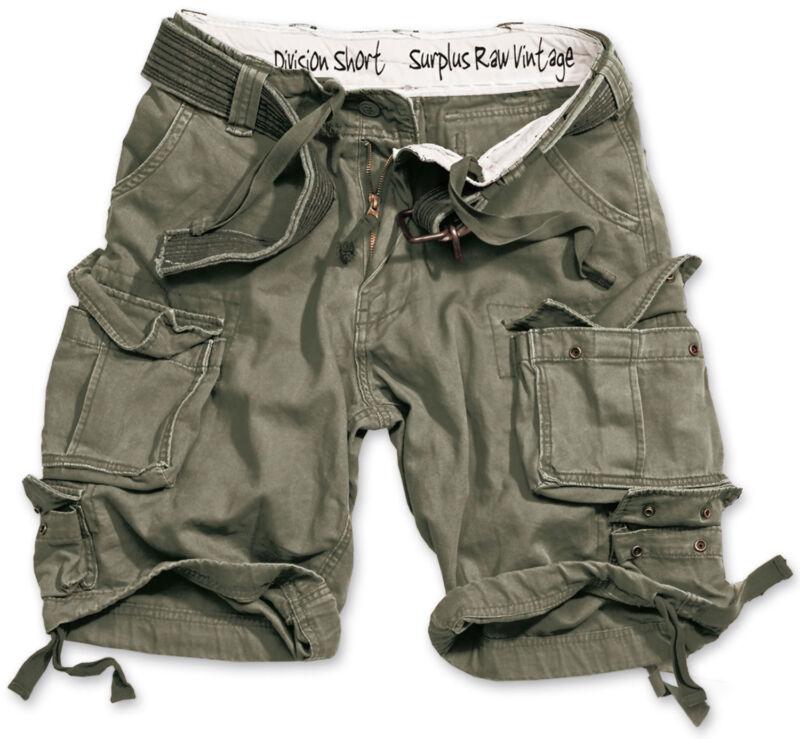 Surplus Division Shorts Militare Vintage Stile Militare + Cintura Verde Oliva