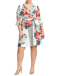 Leota-Ruffle-Sleeve-Floral-Ilana-Jersey-Fit-And-Flare-Dress-Size-Medium