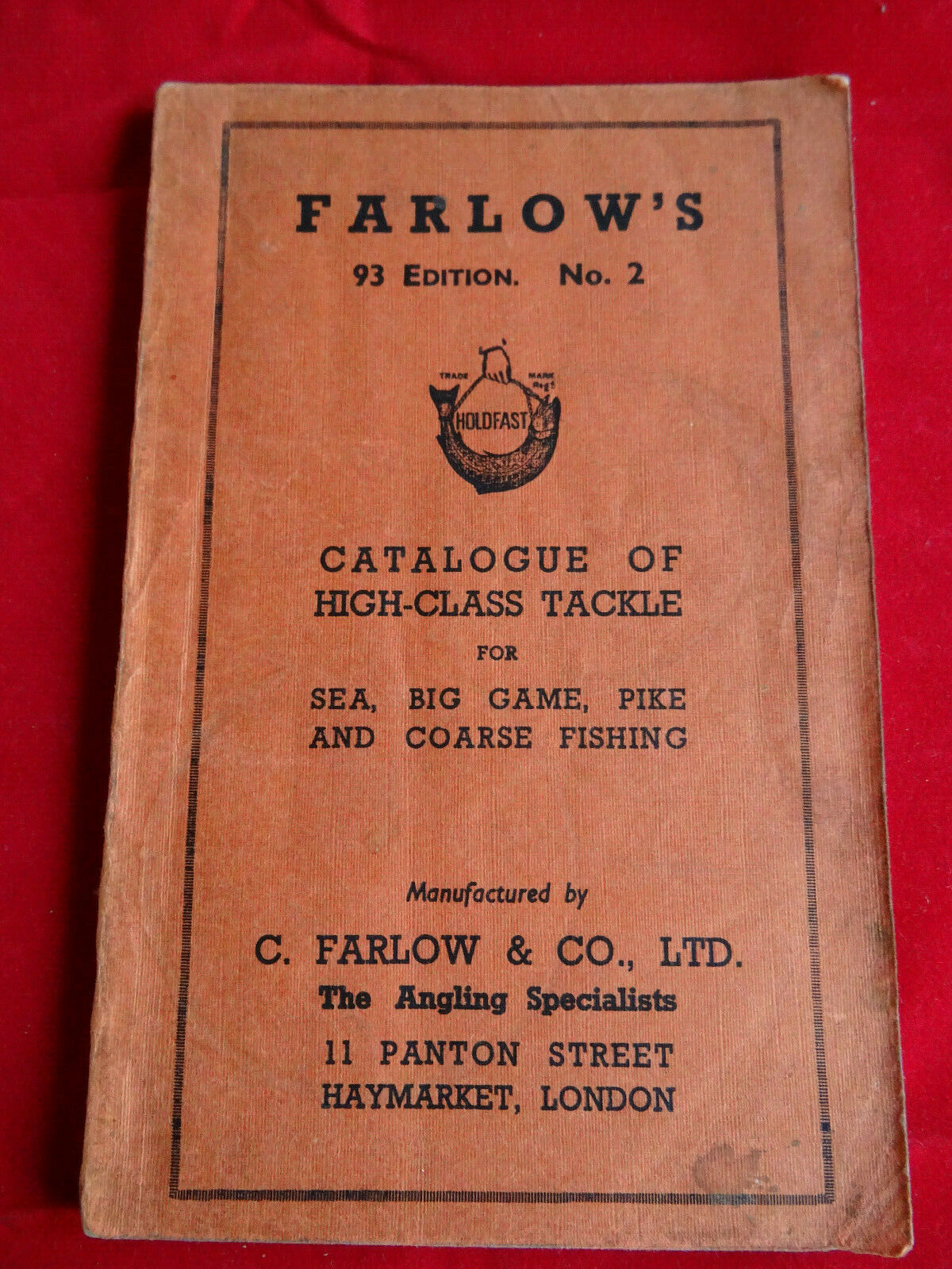 A GOOD C FARLOW ADGrünISING FISHING CATALOGUE 93RD EDITION  NO.2 BIG GAME ETC.