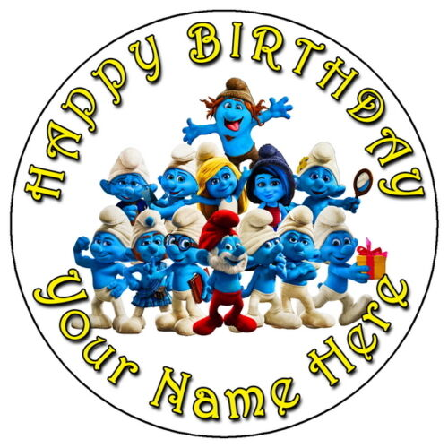 """7.5/"""" PERSONALISED EDIBLE ICING CAKE TOPPER THE SMURFS FUN PARTY"""