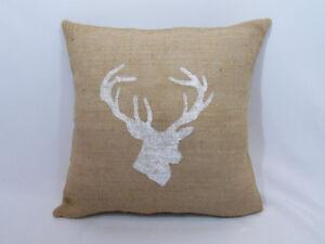 pillow cover or custom color Custom medium gray burlap buck deer antlers WHITE
