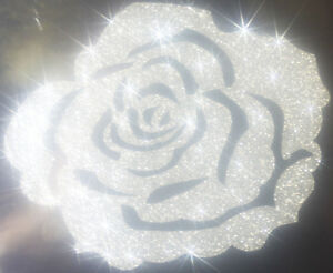 Rose-couleur-argent-silver-Patch-termocollant-a-customiser-hotfix-Glitter-7-cm