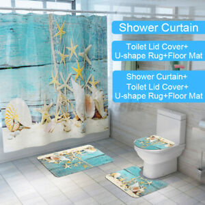 4Pcs Tulpe Duschvorhang Badezimmer Rutschfest Teppich Toilette Deckel Matte Sets