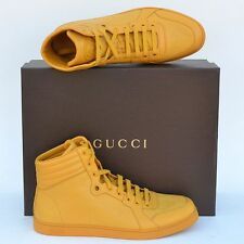 GUCCI New sz 10.5 G US 11 High Top Designer Mens Diamante Sneakers Shoes Yellow