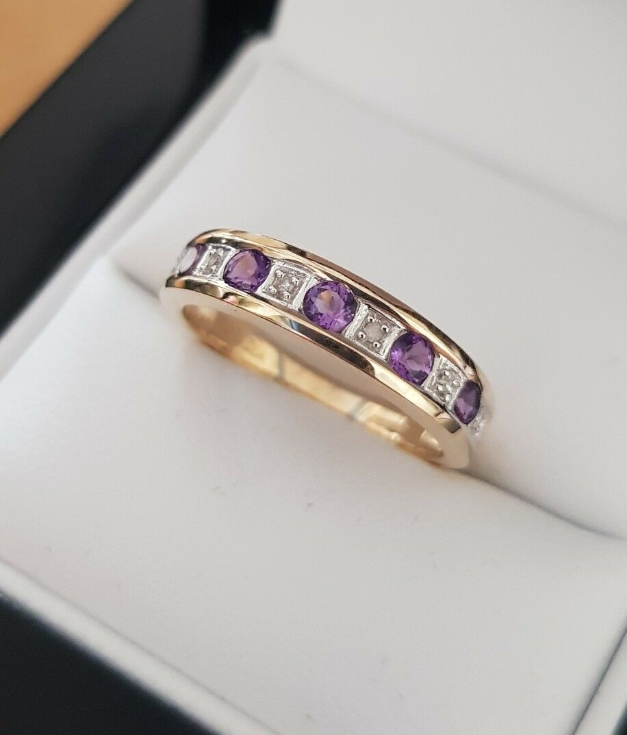 9ct White yellow Ladies natural Diamond and amethyst etenity Ringsize L