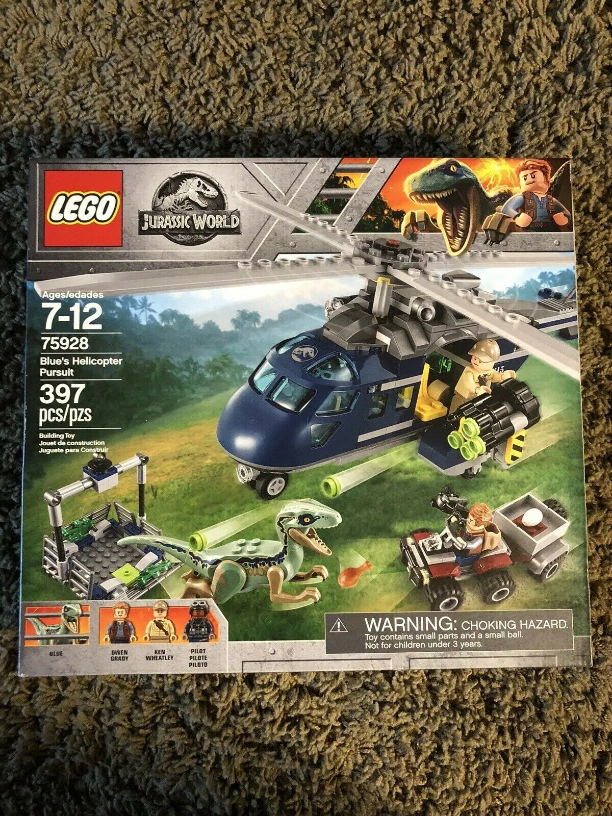 LEGO Jurassic World 75928 NEW Sealed In Box Blau's Helicopter Pursuit 397 Pieces
