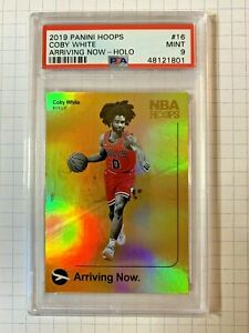 COBY-WHITE-2019-20-PANINI-HOOPS-ARRIVING-NOW-HOLO-16-ROOKIE-PSA-9-MINT