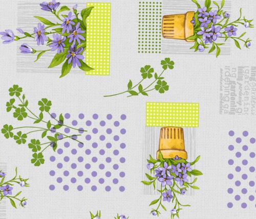 Tischdecke Meterware Wachstuch abwaschbar Blumen lila 743-1
