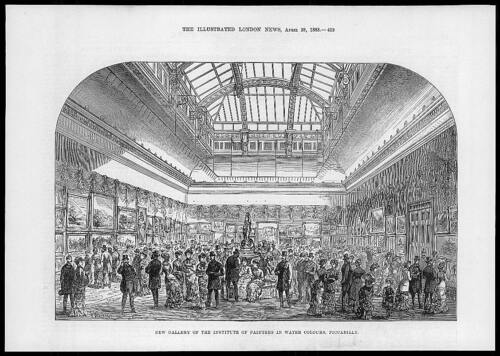 54 1883 Antique Print LONDON PICCADILLY New Gallery Institute Water Colour