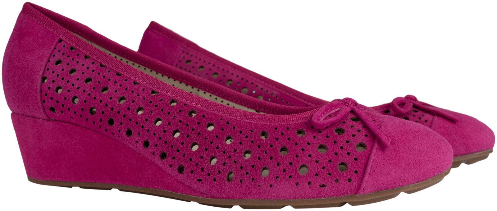 Wedge pumps rosado gamuza de de de cuero de cuero tacón de cuña individuales par talla 36 bucle  compras de moda online