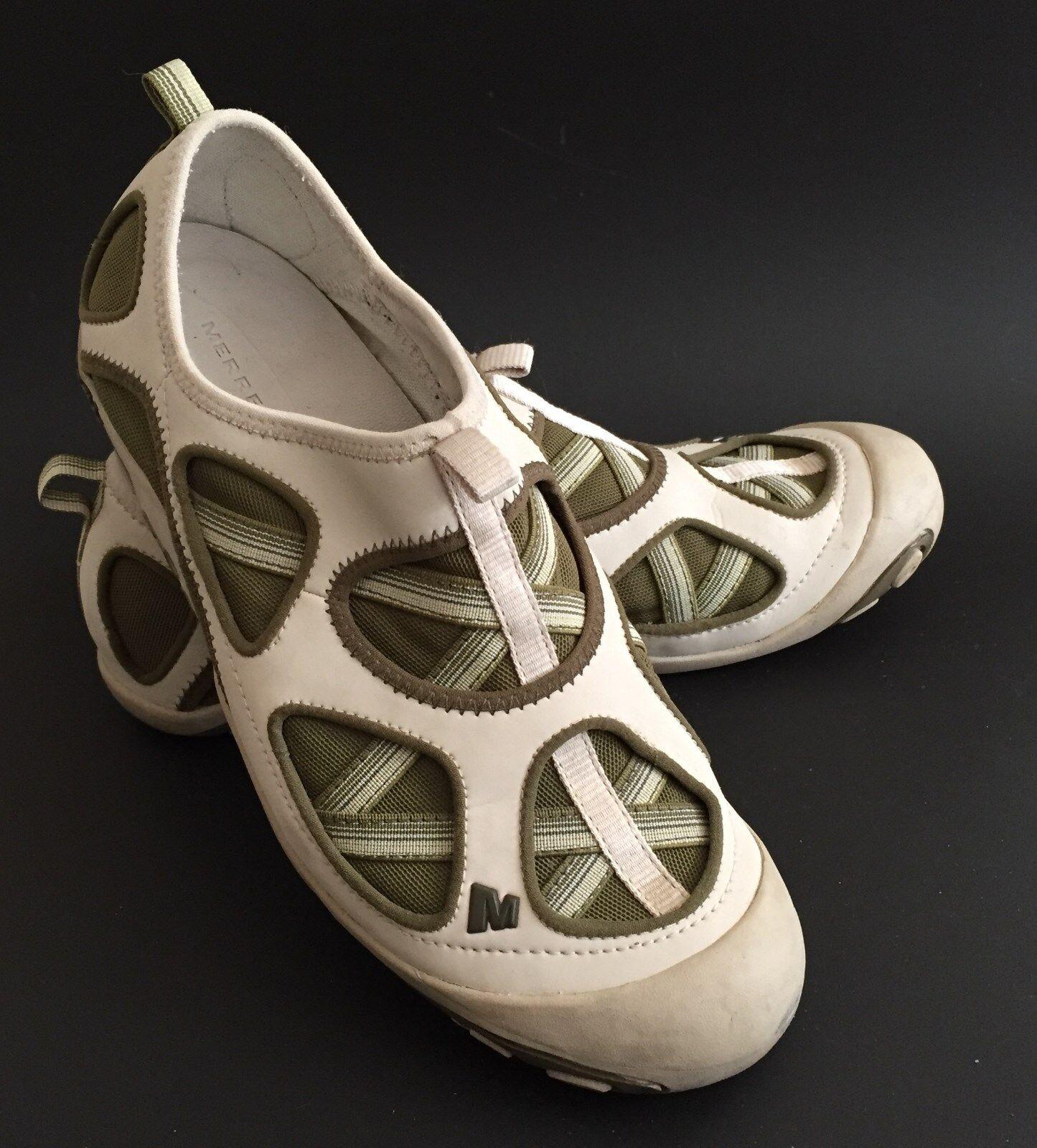 Merrell Mangrove Women's 8 Taupe / Green Mesh Slip On Sport Moc Shoes