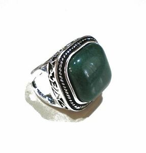 f057bccb0f Sterling Silver Plated Green Agate Stone Ring Men s Women s Size 6.5 ...