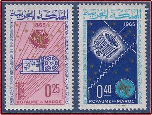 FidèLe 1965 Maroc N°484/485** Uit , Satellite , Espace, 1965 Morocco Itu Space Set Mnh