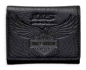 Harley-Davidso<wbr/>n Men&#039;s 115th Anniversary Tri-Fold Wallet, Black 99414-18VM
