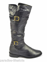 Womens Ladies Fur Lined Boots Knee High Buckle Zip-up Riding Leather Shoes Sizes