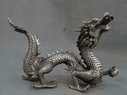 """12/""""Chinese Fengshui Silver Zodiac year Animal Auspicious Dragon lucky Statue"""