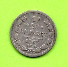 RUSSIA RUSSLAND 1863 20 KOPEKS SILVER COIN 803
