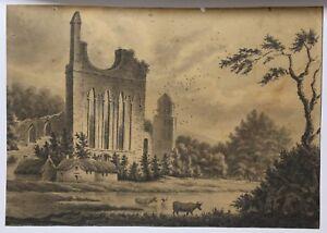 Abbaye-en-ruine-dessin-original-encre-noire-et-lavis-vers-1850-Abbey-in-ruins