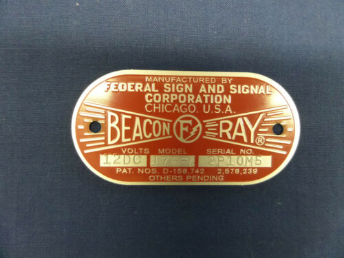 Federal Sign and Signal Model 175-A  Beacon Ray Replacement Badge