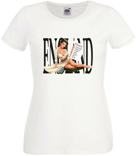 PIN UP GIRL ENGLISH RUGBY FAN T SHIRT ENGLAND EXPECTS EVERY MAN TO DO HIS DUTY