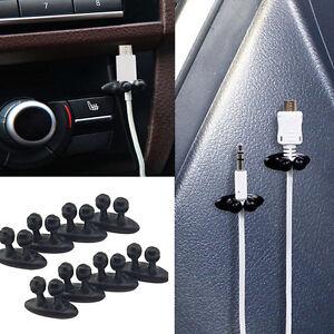 8Pcs-black-Car-Charger-Line-Headphone-USB-Cable-Car-Clip-Interior-Accessories