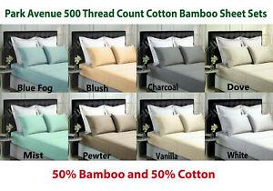 Park-Avenue-500-Thread-Count-Cotton-Bamboo-Sheet-Sets-8-Colour-Options