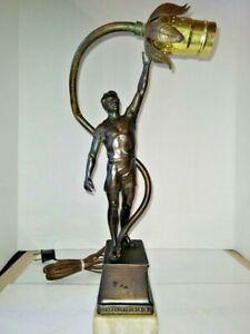 VINTAGE ART DECO NOUVEAU figure masculine athlète Lampe 1900-1940 Art Abat-jour en verre en option