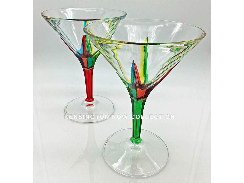 POSITANO  Verre à Martini Paire-Rouge & Vert-peint à la main Vénitien verrerie