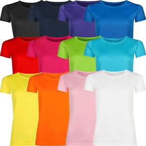 New-Ladies-Breathable-T-Shirt-Wicking-Womens-Cool-Dry-Running-Gym-Top-Sports-Lot