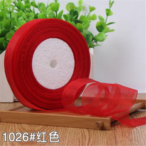 NEW DIY 50yards 10-40mm Edge Sheer Organza Ribbon Craft Satin many color PI