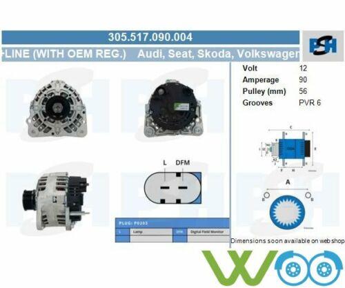Alternateur Générateur Audi Seat Skoda VW a2 a3 Cabriolet a4 avan 305.517.090.004