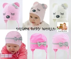 Riche En Coton Bébé Fille Tie Up Chapeau Printemps Taille 0 - 12 Mois Kids Toddler Cap-afficher Le Titre D'origine Handicap Structurel
