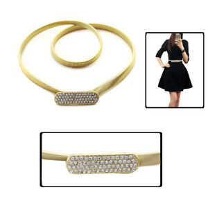 Ladies Metal Belt In Gold - Stretches & Extends Fashion Gold Diamante Buckle