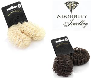 2 Imitation Hair Scrunchie Bands Ponytail Elastics Bobbles Ponio Set UK SELLER