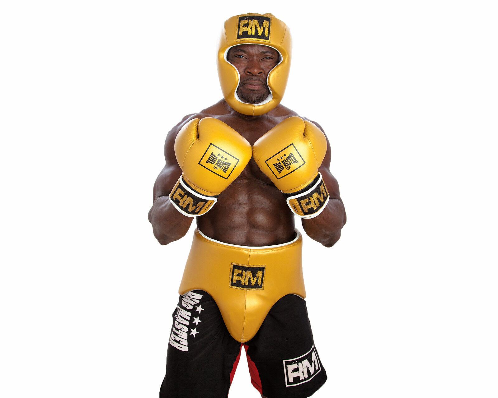 RingMaster UK Professional Set Boxing Gloves Headguard Groin Genuine Leder