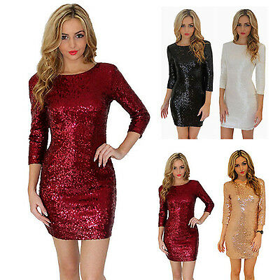 Women Sexy Dresses Bodycon Cocktail Evening Party Pencil Sequins Mini Dress