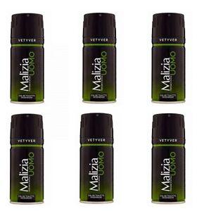 6x-MALIZIA-UOMO-VETYVER-vetiver-deo-150ml-deospray-deo-spray-deodorant-Edt