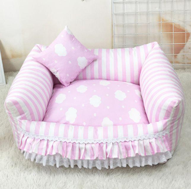 Princess Handmade Pet Dog Cat Bed House Sofa Cushion Mat Cover pink bluee S,M